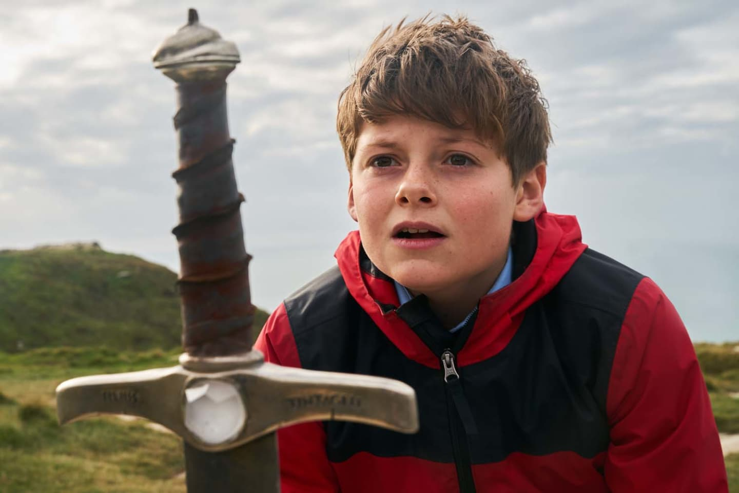 Louis Ashbourne Serkis holds the mythical Excalibur sword in 'The Kid Who Would Be King'